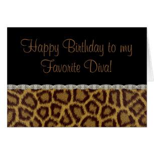 Diva birthday cards invitations zazzle diva birthday leopard birthday card bookmarktalkfo Images