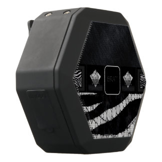 Diva Brat Zebra Bling Black Boombot Rex Bluetooth Speaker