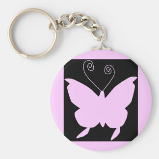 Diva Butterfly Basic Round Button Key Ring