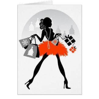 Diva Christmas Shopping Greeting Card
