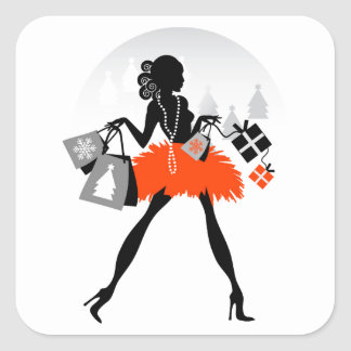 Diva Christmas Shopping Square Sticker