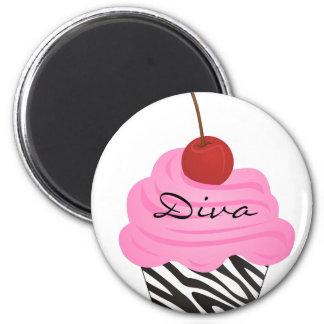 Diva Cupcake 6 Cm Round Magnet
