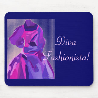 Diva Fashionista In Blue Mouse Pads