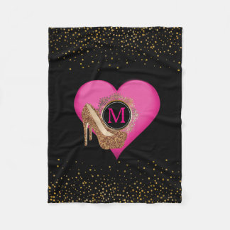 Diva High Heels | Chic Black Gold Glitter Confetti Fleece Blanket