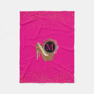 Diva Hot Pink Black | Gold Glitter High Heels Fleece Blanket