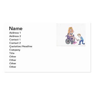 Diva in a wheel-chair with her Man at her feet Business Card Templates