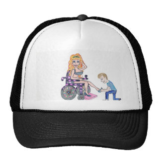 Diva in a wheel-chair with her Man at her feet Hats