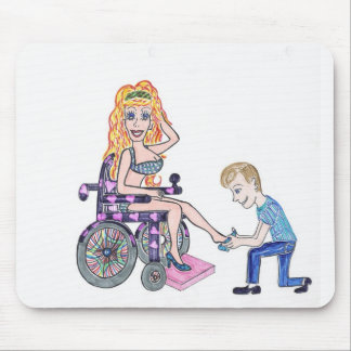Diva in a wheel-chair with her Man at her feet Mouse Pad