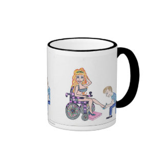 Diva in a wheel-chair with her Man at her feet Mugs