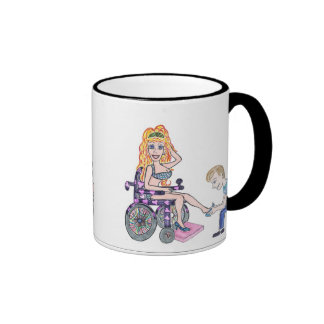 Diva in a wheel-chair with her Man at her feet Coffee Mugs