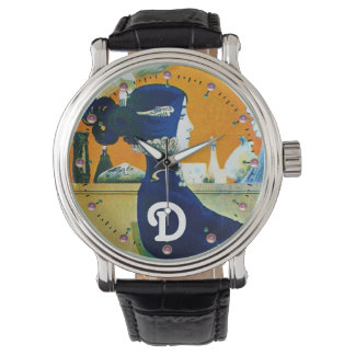 DIVA IN BLUE ,BEAUTY FASHION MONOGRAM WRIST WATCHES