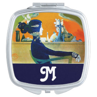 DIVA IN BLUE Beauty Fashion Monogram Makeup Mirrors