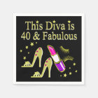 DIVA IS 40 AND FABULOUS GOLD HIGH HEEL DESIGN PAPER NAPKIN