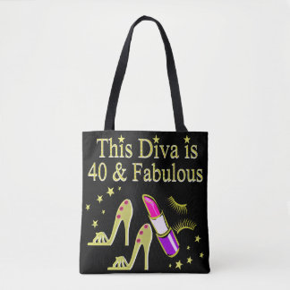 DIVA IS 40 AND FABULOUS GOLD HIGH HEEL DESIGN TOTE BAG