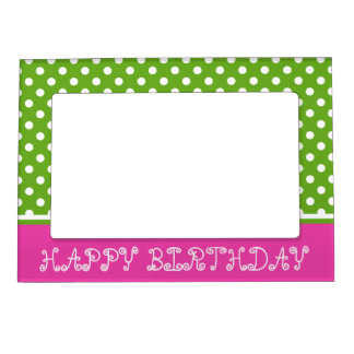 Diva Pink and Green Apple Polka Dot Personalized Magnetic Photo Frames