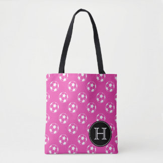 Diva Pink and White Soccer Balls Monogram Tote Bag