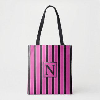 Diva Pink Black and White Stripe Monogram Tote Bag