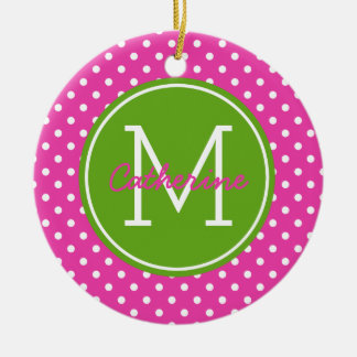 Diva Pink Green Apple and White Polka Dot Monogram Christmas Ornament