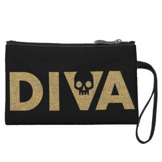 Diva Skull Gold Glitter on Black Wristlet