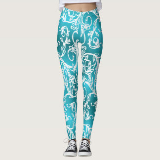 Diva Turquoise Filigree Dream Leggings