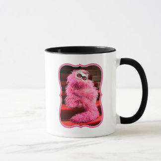 Diva White Cat Wrapped in Pink Boa on Red Carpet Mug