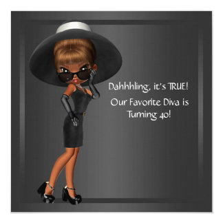 Diva Womans African American Birthday Party Card