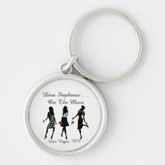 Divas On The Move - Silver Keychain w/ Name