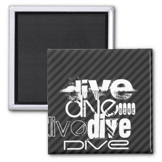 Dive; Black & Dark Gray Stripes 2 Inch Square Magnet