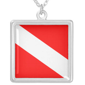 Dive Flag Silver Plated Necklace