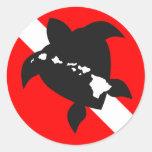 Dive Flag Turtle Round Sticker