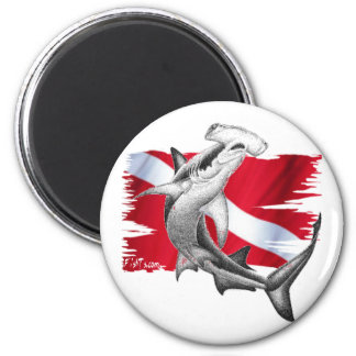 Dive flag with hammerhead shark-diver down 6 cm round magnet