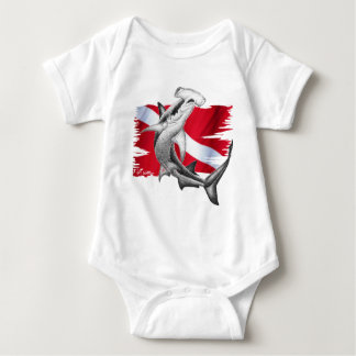 Dive flag with hammerhead shark-diver down baby bodysuit