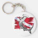 Dive flag with hammerhead shark-diver down key chain