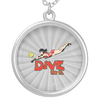 dive for it womens volleyball design round pendant necklace