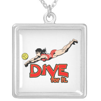 dive for it womens volleyball design square pendant necklace