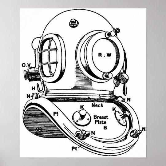 Dive Helmet Illustration Poster