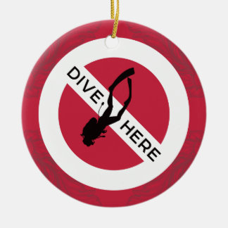 Dive Here Christmas Ornament