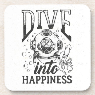 Dive into happiness motivational scuba diving drink coaster