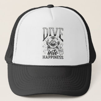 Dive into happiness motivational scuba diving trucker hat