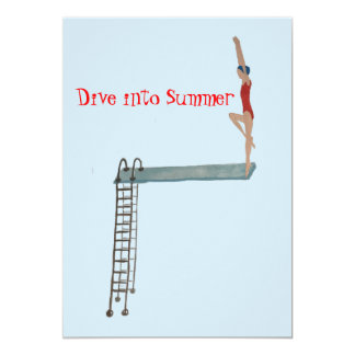 Dive into Summer- Swimmers- Pool Party-Red Tank Card