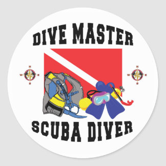 Dive Master SCUBA Diver Classic Round Sticker