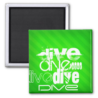Dive; Neon Green Stripes 2 Inch Square Magnet