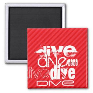 Dive; Scarlet Red Stripes 2 Inch Square Magnet
