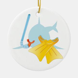 Dive Shark Round Ceramic Decoration