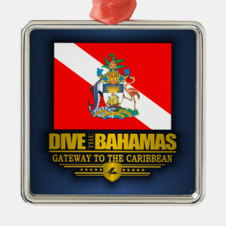 Dive the Bahamas 2 Silver-Colored Square Decoration