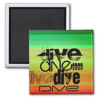 Dive; Vibrant Green, Orange, & Yellow 2 Inch Square Magnet
