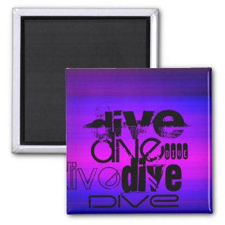 Dive; Vibrant Violet Blue and Magenta 2 Inch Square Magnet