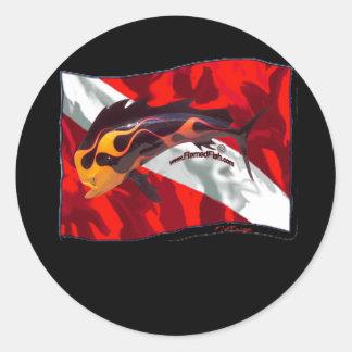 DiveFlag with Flamed Dorado Classic Round Sticker