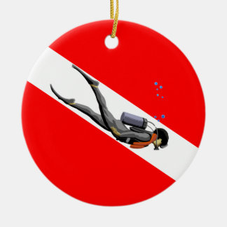 Diver And Dive Flag Christmas Ornament