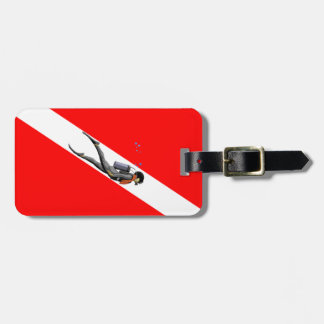 Diver And Dive Flag Luggage Tag